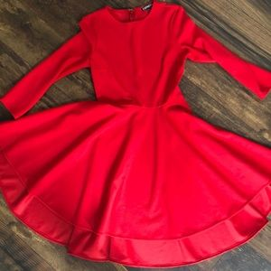 Red high low dress with sleeves